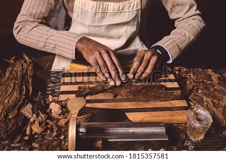 Process of making traditional cigars from tobacco leaves with hands using a mechanical device and press. Leaves of tobacco for making cigars. Close up of hands making cigars. ストックフォト ©