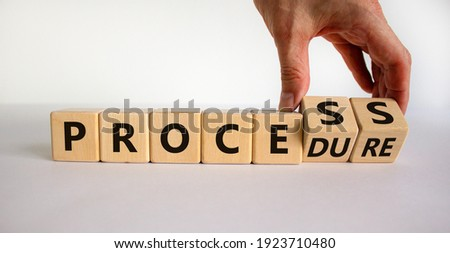 Process or procedure symbol. Businessman turns wooden cubes, changes a word 'process' to 'procedure'. Beautiful white background. Business and process or procedure concept. Copy space. Stockfoto ©