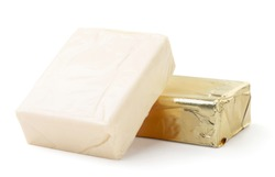 Processed cheese rectangular in packaging and without packaging on a white background. Isolated