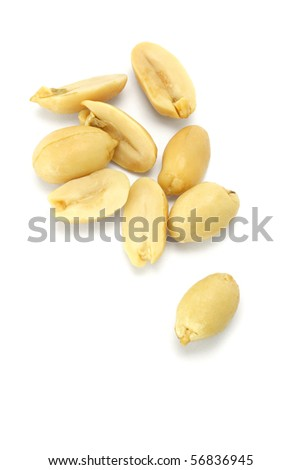 Processed pea nuts isolated on white background
