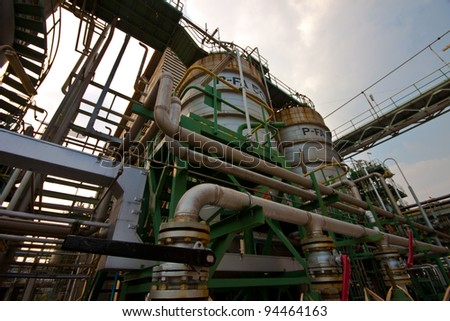 Processes in the petrochemical plant - stock photo