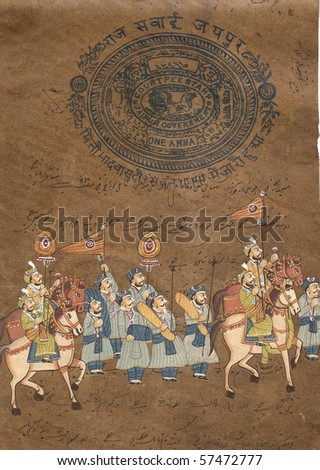 Medieval Warrior Riding Horse Tattoos on Procession Of Maharajah On Horse  Indian Miniature Painting On 19th