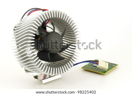 Processor and fan with radiator over white