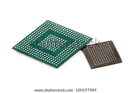 Processor in BGA package. Photo isolated on white background - stock photo