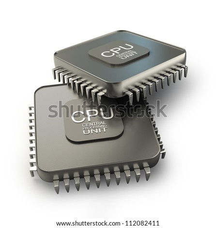 Processor unit concept isolated on white background 3d render