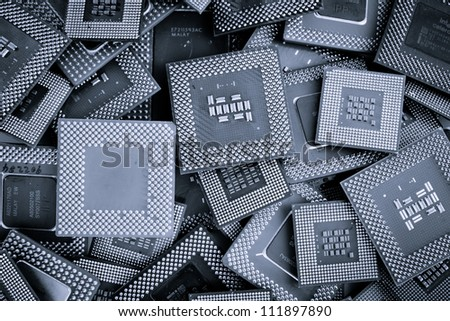 Processor unit cpu background color processed blue
