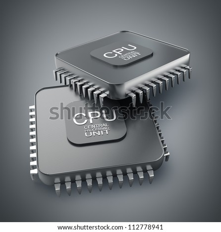 Processor unit CPU concept 3d render High resolution