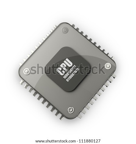Processor unit CPU concept isolated on white background 3d render