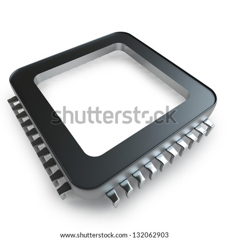 Processor unit CPU concept isolated on white background  High resolution 3D - stock photo