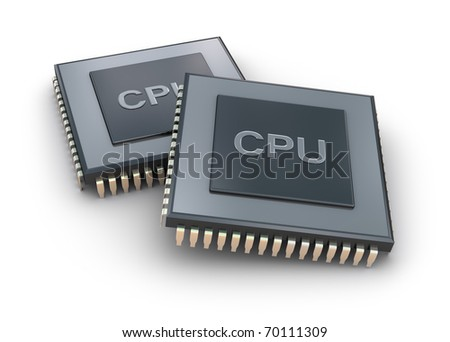 Processor unit 3D concept isolated on white