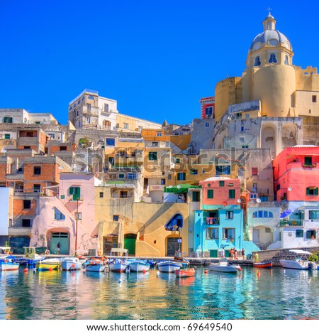 Procida, beautiful island in the mediterranean sea, naples. hdr