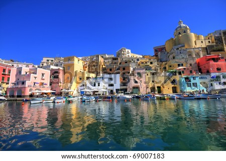 procida, beautiful island in the mediterranean sea, naples, in hdr