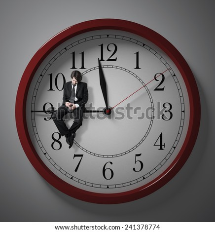 Procrastination. Waiting for the end of the working day. Stay at work. Deadline. wasting time.