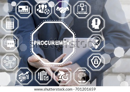 Procurement Business Concept. E-Procurement. Man offers procurement text icon on a virtual digital screen interface. Stockfoto ©