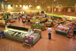 Produce Section of a Large Food Supermarket