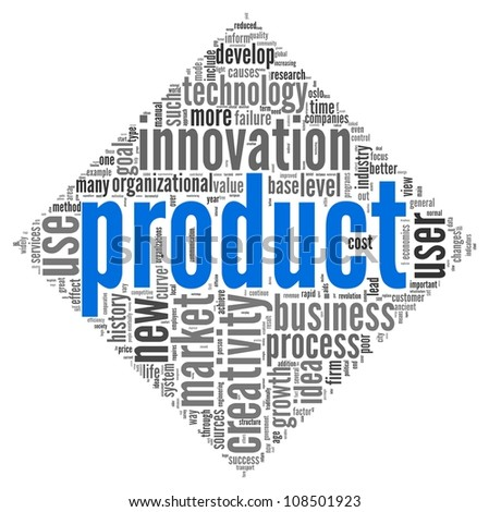 Product and creativity concept related words in tag cloud of diamond shape on white background