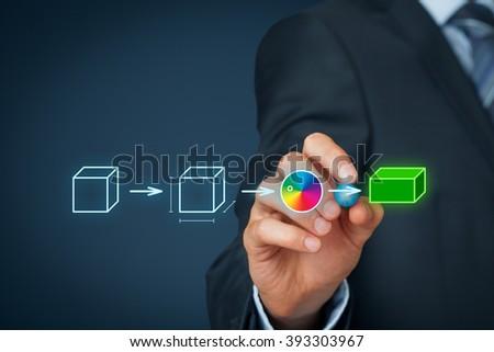 Product customization concept. Businessman draw process of customer customized product. ストックフォト ©
