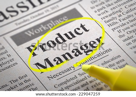 Product Manager Vacancy in Newspaper. Job Seeking Concept.