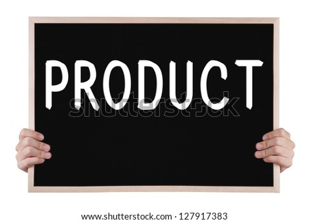 product on blackboard with hands