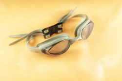 product photo of swimming goggles. with smoke decoration for photo