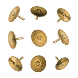 Product photograph, closeup or macro of a set of metal pushpins isolated on white seamless background