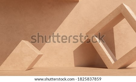 Product setting podium beige abstract minimalistic geometry, minimal geometric shapes interior, object placement, abstract gray background room, 3d rendering,