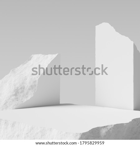 Product setting podium rough stone slab, white concrete floor stone platform, grunge texture blocks object placement, 3d rendering,