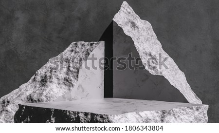 Product setting podium rough stone slabs, marble counter concrete table and stone shelves, grunge texture blocks object placement, 3d rendering, stock photo