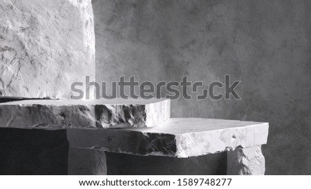 Product setting podium rough stone slabs, marble counter concrete wall and stone shelves, grunge texture blocks object placement, 3d rendering,