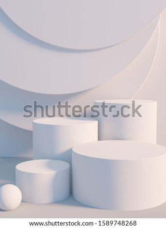 Product setting podium white abstract minimalistic geometry, minimal light interior, object placement, abstract gray background room, 3d rendering, Photo stock ©