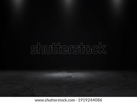 Product showcase. Black studio room background. Use as montage for product display