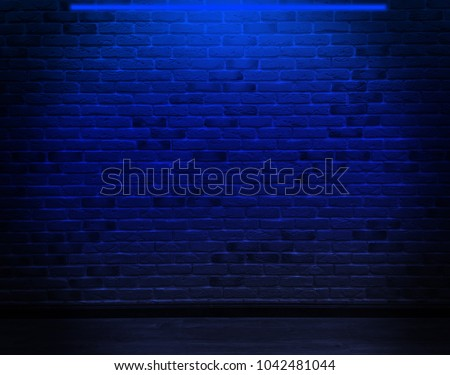 Product showcase spotlight background. Brick wall, background, blue neon light