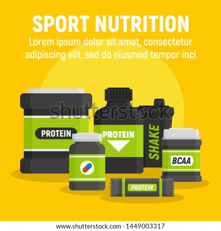 Product sport nutrition concept background. Flat illustration of product sport nutrition concept background for web design