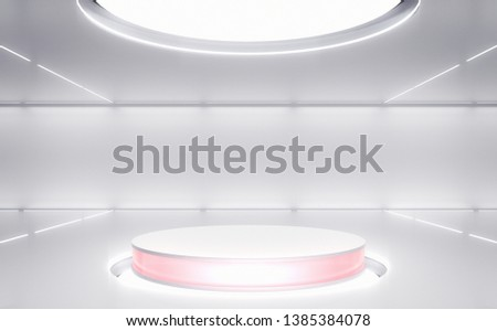 Product stand, Futuristic Background, Sci-fi, Modern Future Interior. 3D Rendering