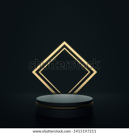 Product Stand, Luxury Concept, Gold and Black, Cylinder Shape, 3D Rendering.