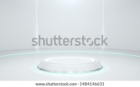 Product stand, Podium, Cylinder Shape, Futuristic Concept, 3D Rendering.