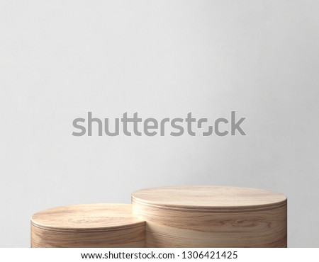 Product Stand, Wooden Texture, Cylinder Shape. 3D Rendering
