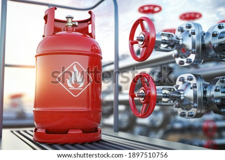 Production, delivery and filling with natural gas of lpg gas bottle or tank. 3d illustration Сток-фото ©