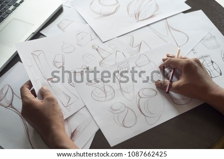 Production designer sketching Drawing Development Design idea Creative Concept #1087662425