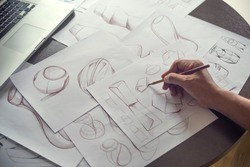 Production designer sketching Drawing Development process prototype Design idea Creative Concept