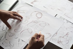 Production designer sketching Drawing Development prototype process Design idea Creative Concept