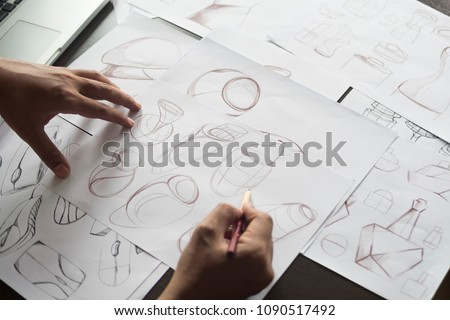 Production designer sketching Drawing Development prototype process Design idea Creative Concept - Shutterstock ID 1090517492