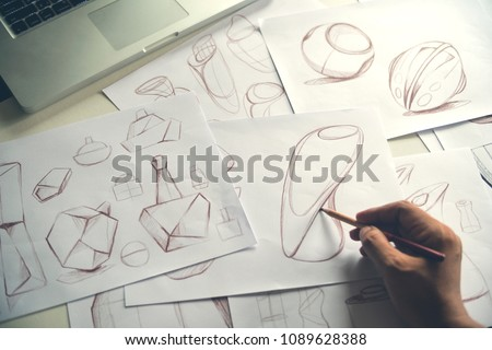 Production designer sketching Drawing product Development process prototypes Design idea Creative Concept