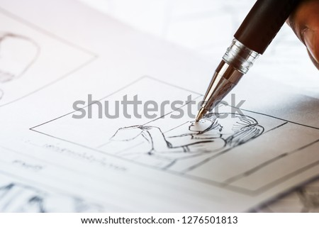 Production for Movie Storyboard drawing creative for movies process pre-production media films script for video editors, development cartoon illustration animation for production shooting