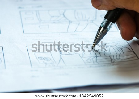 Production for Movie Storyboard drawing for movies process pre-production media films script for video editors, development cartoon illustration animation for production shooting