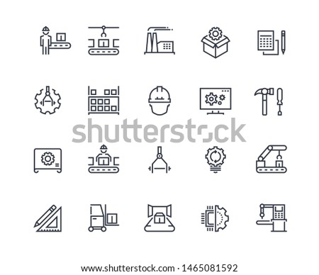 Production line icons. Industry machine production, factory conveyor line, automatic robot manipulator. Industrial  pictograms template concept engineering set