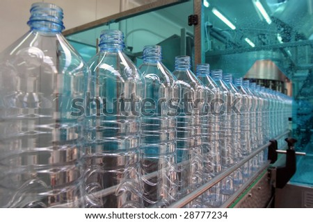 production line in a factory for mineral water