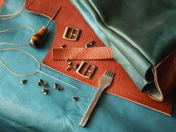 Production of genuine leather. Instruments.  Genuine leather design. Metal fittings. Clothing industry.