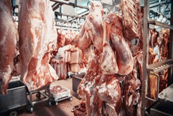Production of meat products in the supermarket in the supermarket. Next, distribution of finished products to the store's shop for customers. Sausage, meatloaf, pate ...