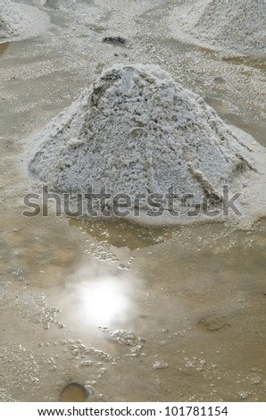 Production of sea salt, dried salt crystals are white